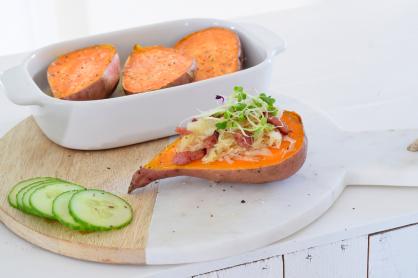 Gevulde zoete aardappel uit de oven