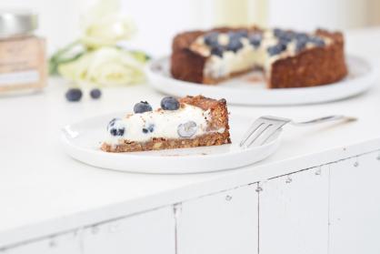 Healthy cheesecake met crunchy notenbodem (high tea)