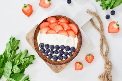 Rood-wit-blauw Koningsdag cheesecake
