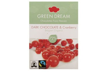 Biologische Chocoladetablet Dark Cranberry (Green Dream, 55 gram)
