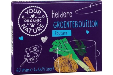 Biologische Groente Bouillonblokjes Zoutarm (Your Organic Nature, 60 gram)