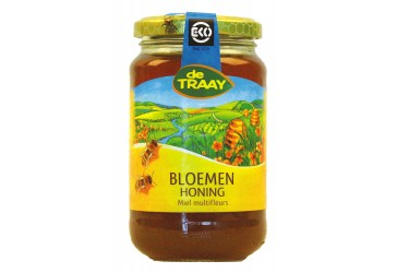 Biologische Bloemenhoning Vloeibaar (De Traay, 450 gram)