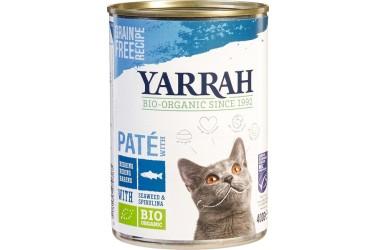 Biologische Pate Vis met Spirulina en Zeewier Kat Voordeelverpakking (Yarrah, 12 x 400 gram)