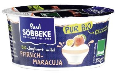 Biologische Yoghurt op vrucht Perzik-Maracuja (Söbbeke, 150 gram)