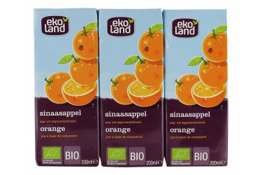 Biologisch Sinaasappelsap 3 pakjes (Ekoland, 600 ml)