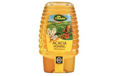 Biologische Acaciahoning knijpfles  (De Traay, 375 gram)