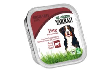 Biologische Pate Rund met Spirulina voor honden Voordeelverpakking  (Yarrah, 12 x 150 gram)