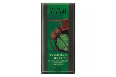 Biologische Chocoladetablet Melk Hazelnoot Voordeelverpakking (Vivani, 10 x 100 gram)