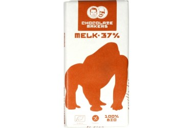 Biologische Chocoladetablet Melk 37% Gorilla bar Voordeelverpakking  (Chocolatemakers, 10 x 85 gram)
