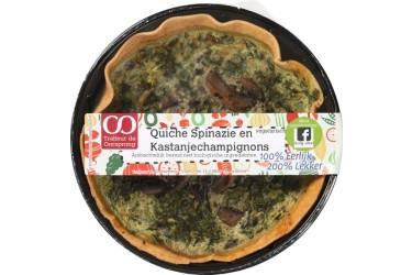 Biologische Quiche Spinazie Kastanjechampignons (Oorsprong, 350 gram)