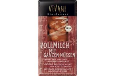 Biologische Chocoladetablet Melk Hele Hazelnoot (Vivani, 100 gram)