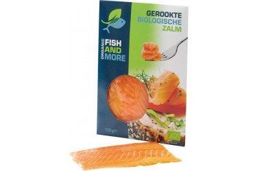 Biologische Gerookte Zalmfilet (Fish and More, 100 gram)